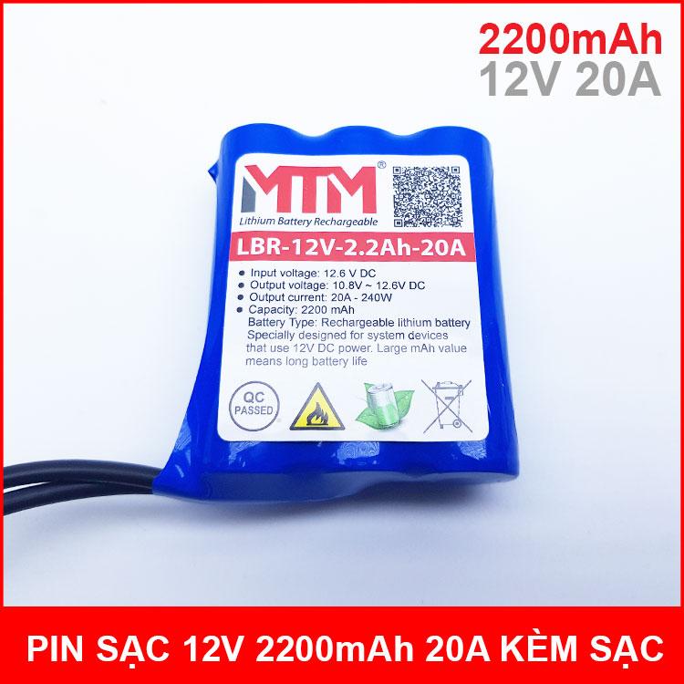 Pin sạc lithium 12V 2200mah 3S chịu tải 20A MTM kèm sạc chính hãng