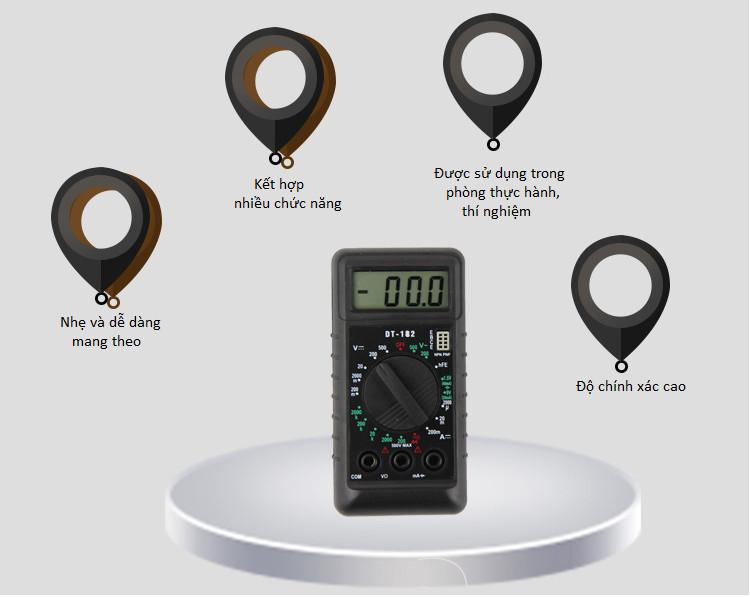 Đồng hồ vạn năng mini DT-182 (Tặng kèm miếng thép đa năng 11in1)