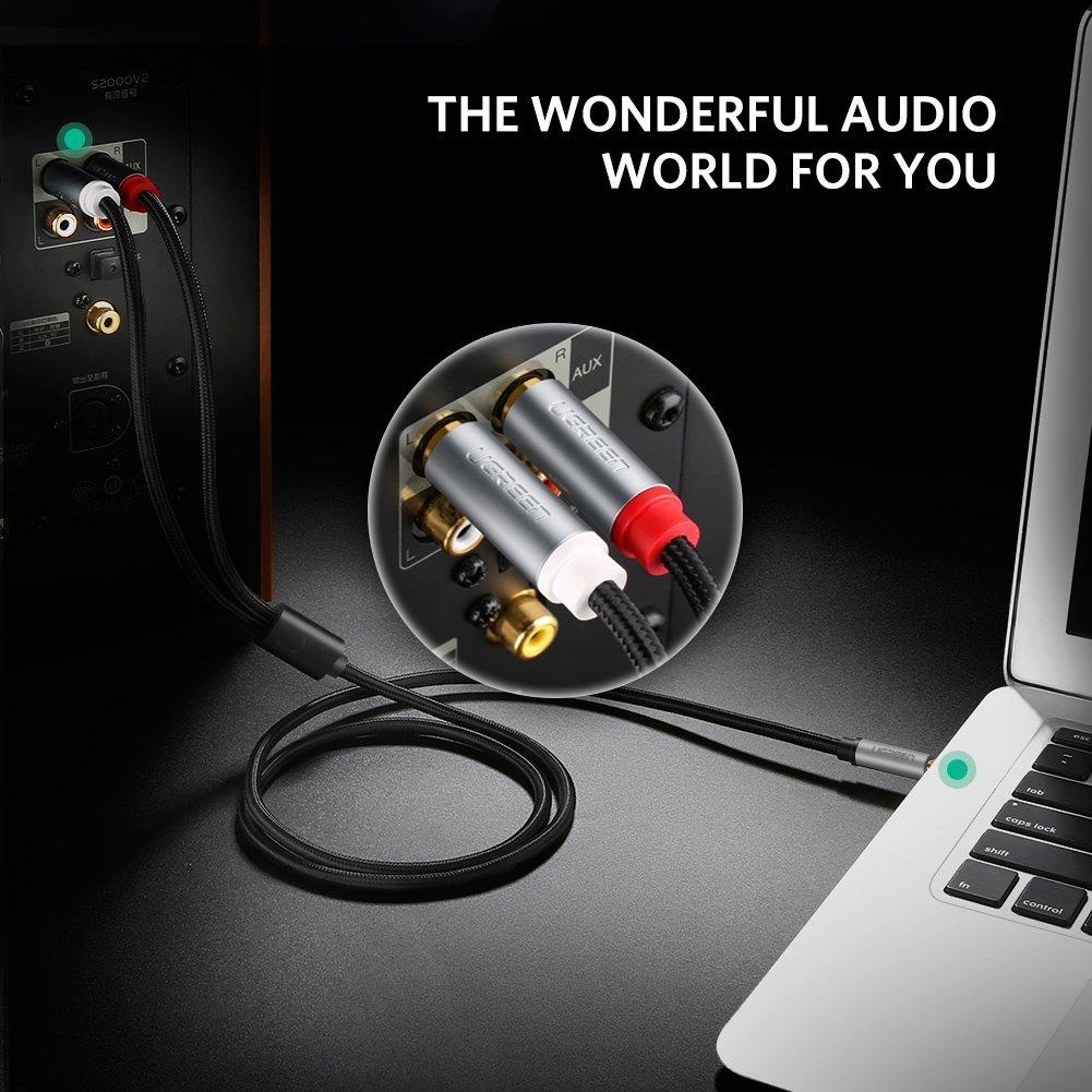 Cáp Audio 3.5mm sang 2 đầu RCA dài 5m Ugreen 40845 chính hãng