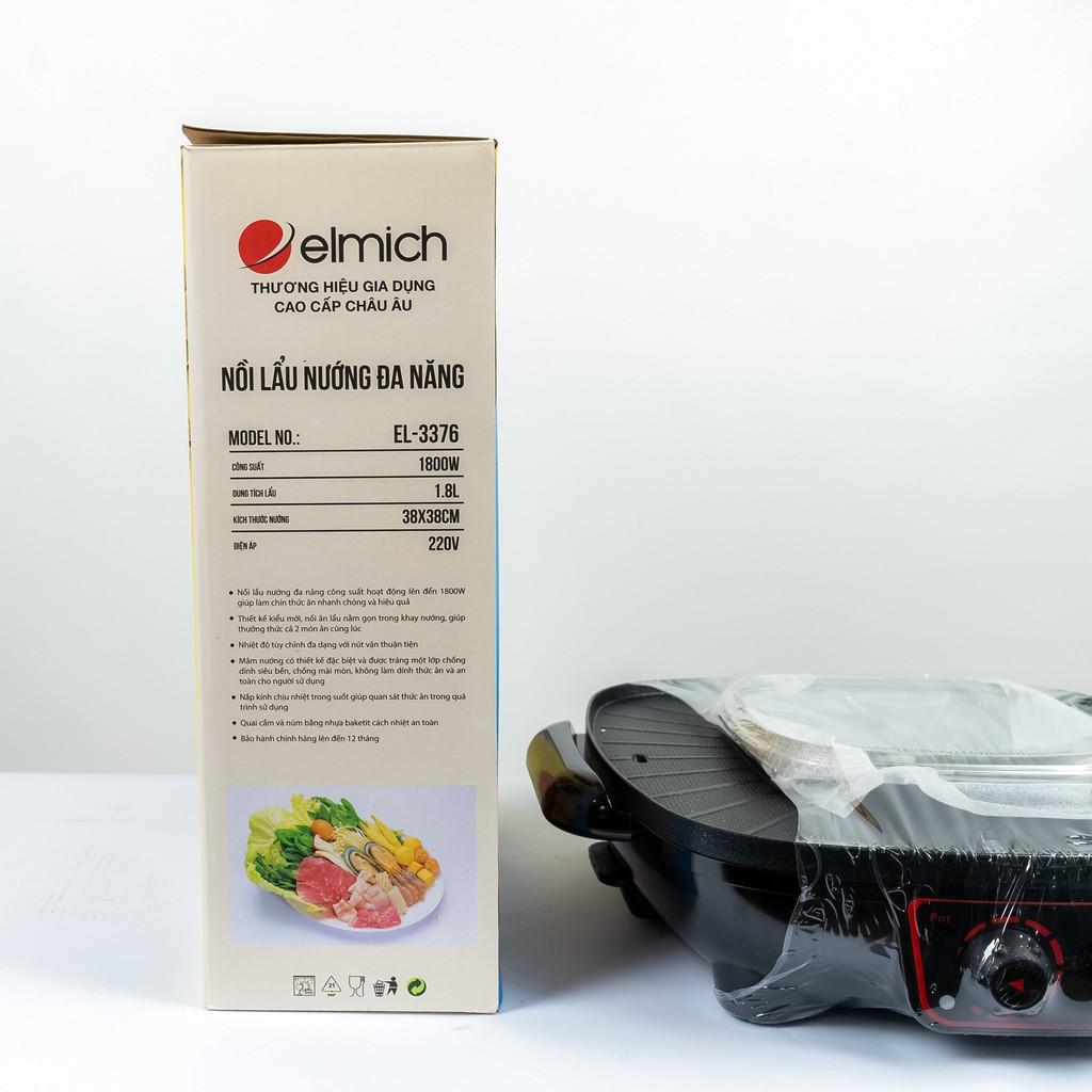 Nồi lẩu nướng đa năng 1.8 lít 1800W Elmich EL-3376 - Hàng chính hãng