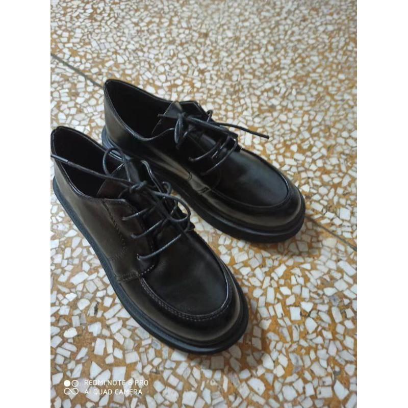 (Hàng sẵn) Giày ulzzang da buộc dây mũi tròn