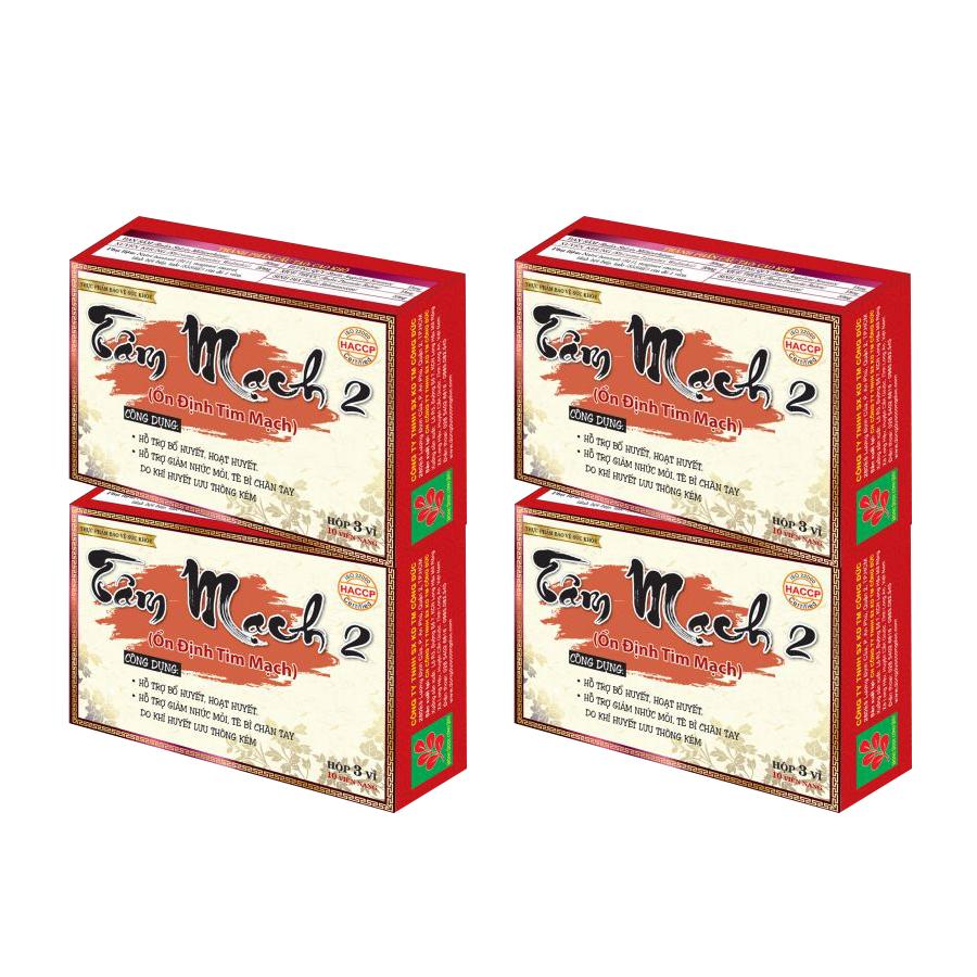 Combo 4 hộp Tâm mạch 2 Công Đức hỗ trợ bổ huyết, hoạt huyết