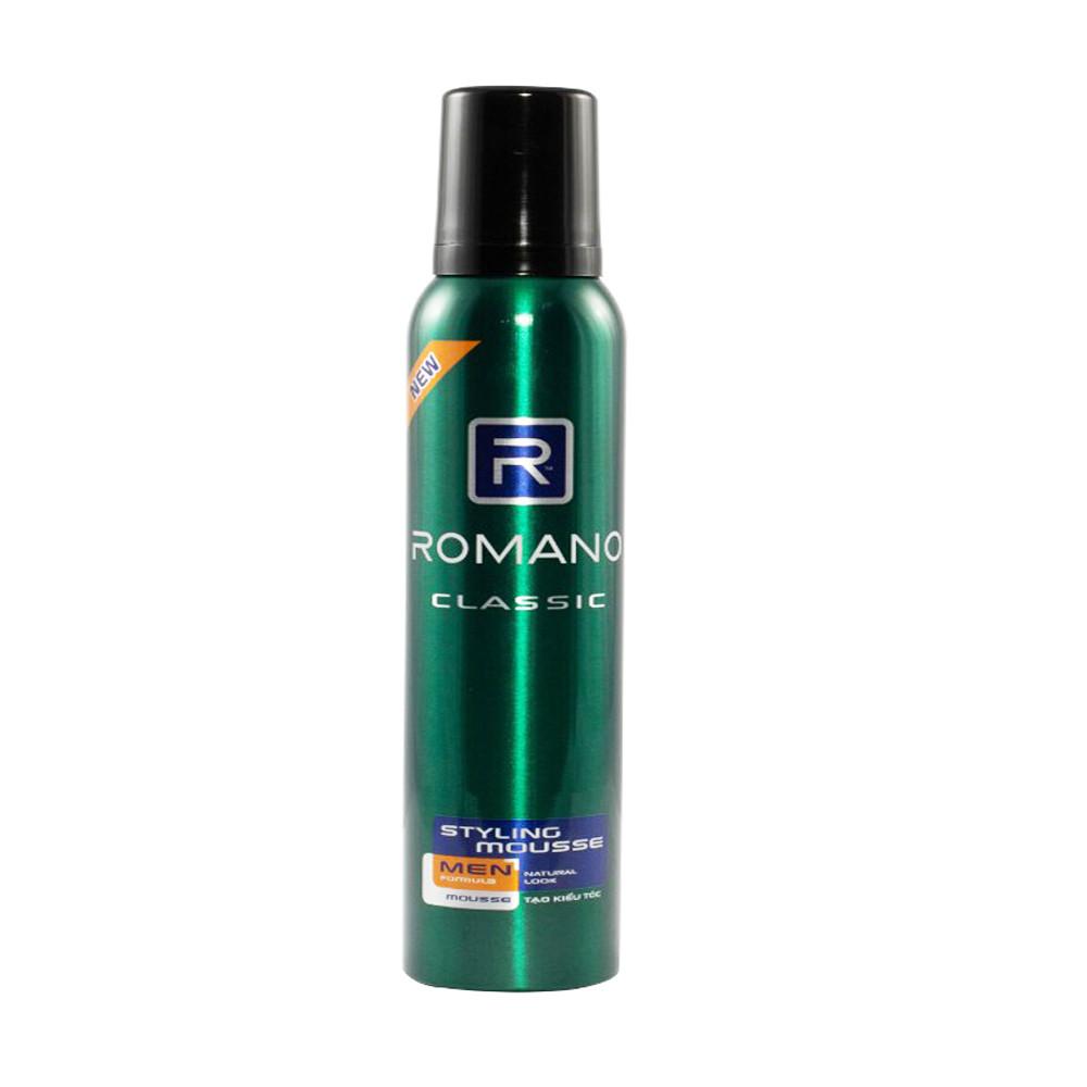 Bộ Sản Phẩm Tạo Kiểu Tóc Cho Nam Romano: Mousse tạo kiểu tóc Classic175g +Sáp vuốt tóc siêu cứng 68g+Gel Vuốt tóc siêu cứng Classic 150ml+Quà Tặng Dầu gội sạch Gàu 60gr