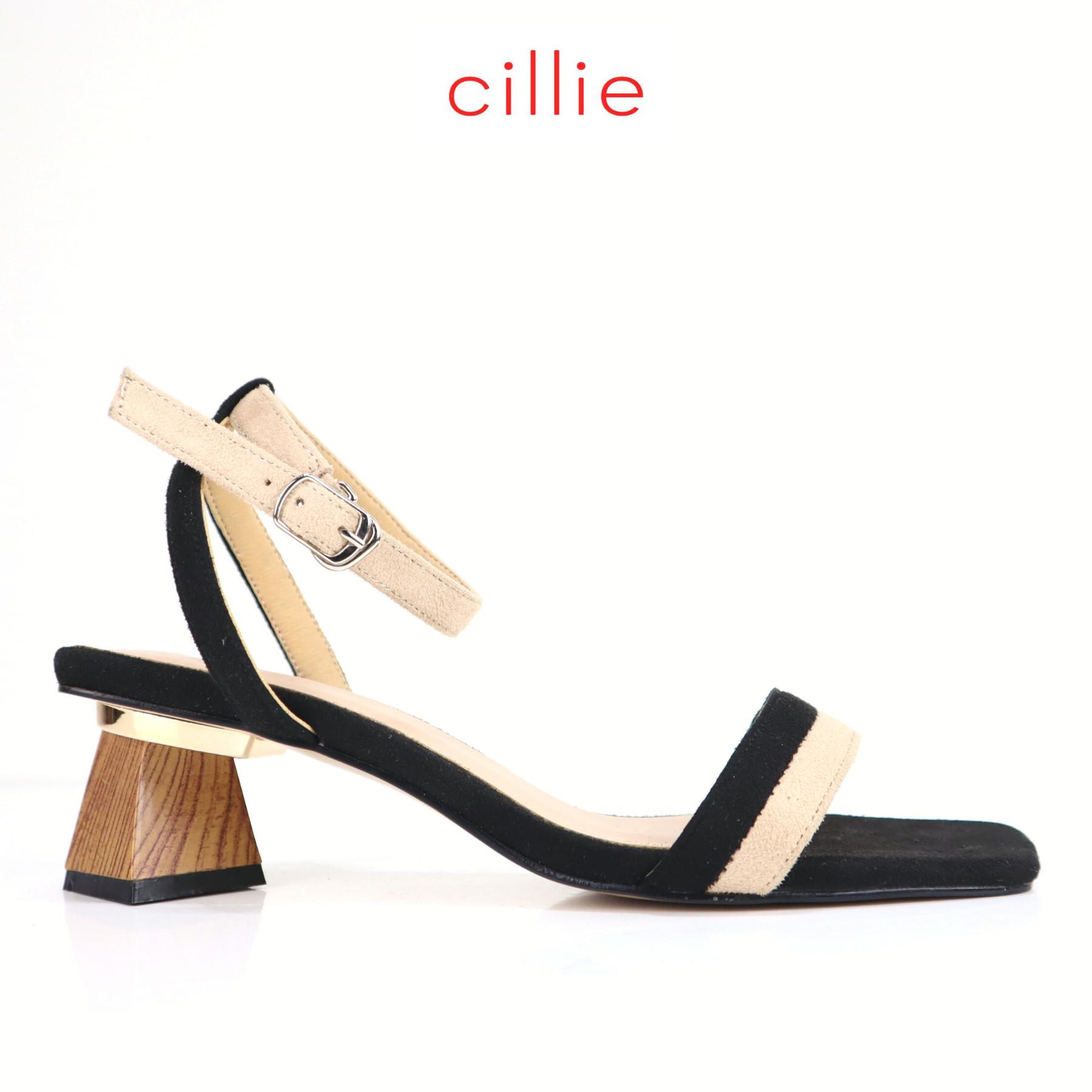 Giày sandal quai ngang da lộn phối màu cao 5cm Cillie 1198