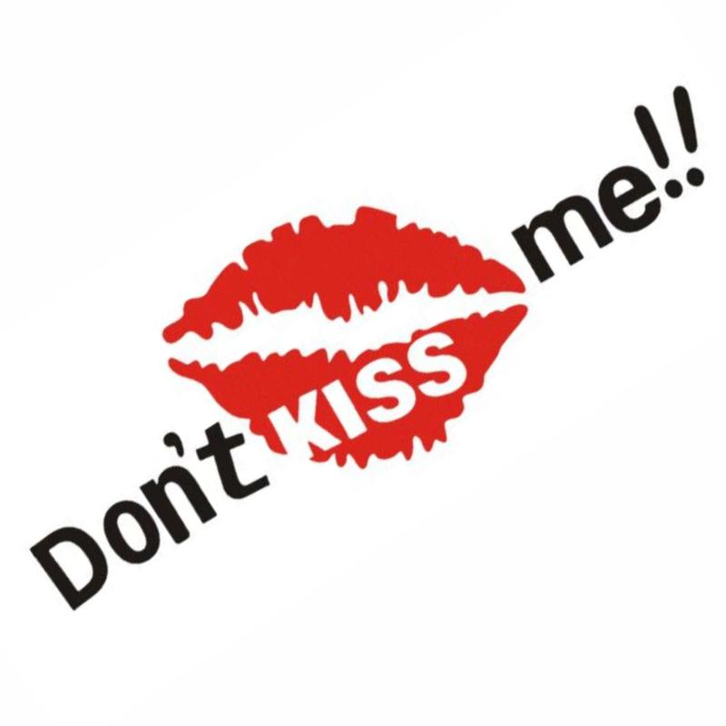 DON'T KISS ME MÔI ĐỎ - Sticker transfer hình dán trang trí Xe hơi Ô tô size 7x19cm