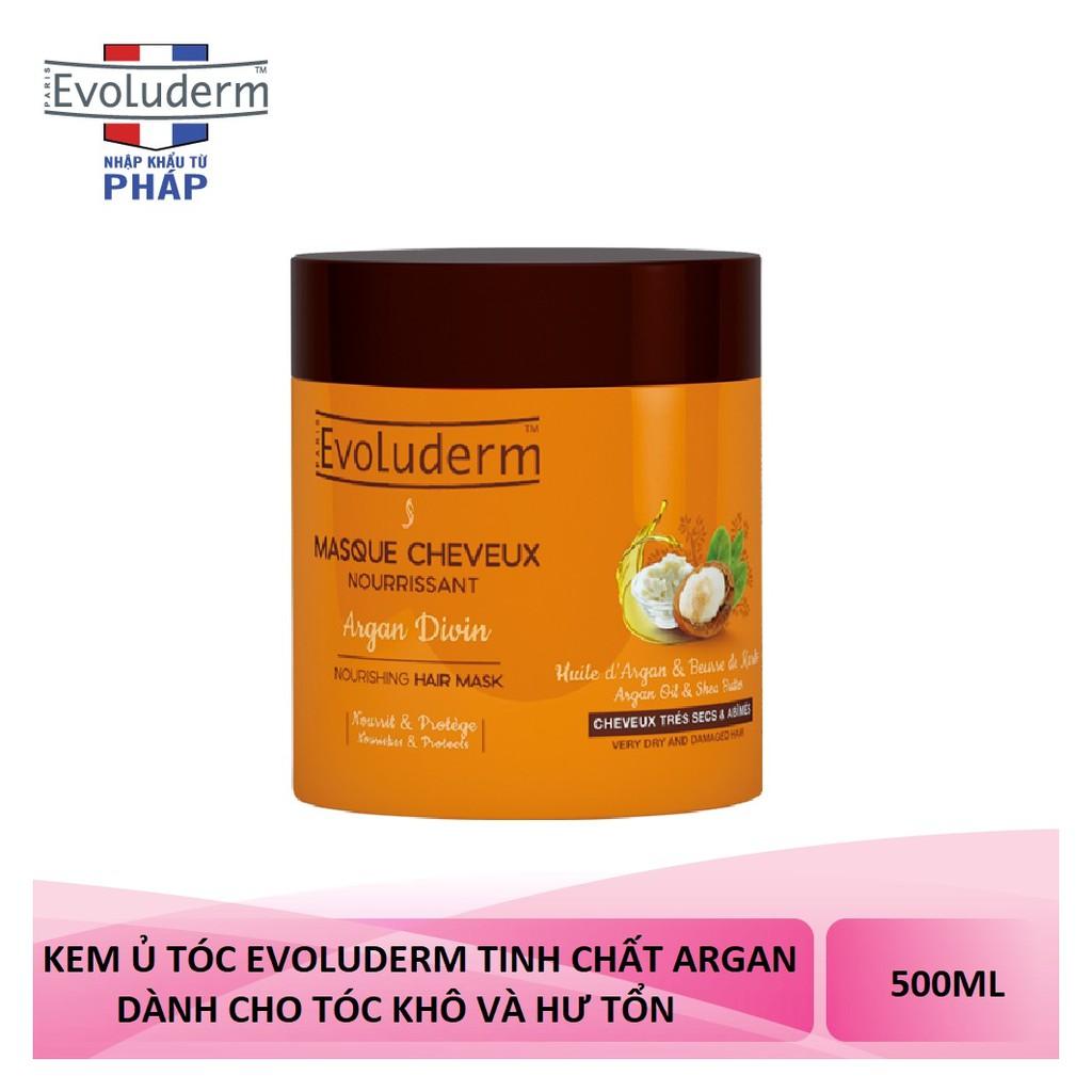 Kem ủ tóc mềm mượt Tinh chất Argan và Bơ Hạt Mỡ dành cho tóc khô và hư tổn Masque Cheveux Argan Divin Evoluderm 500ml - 17315