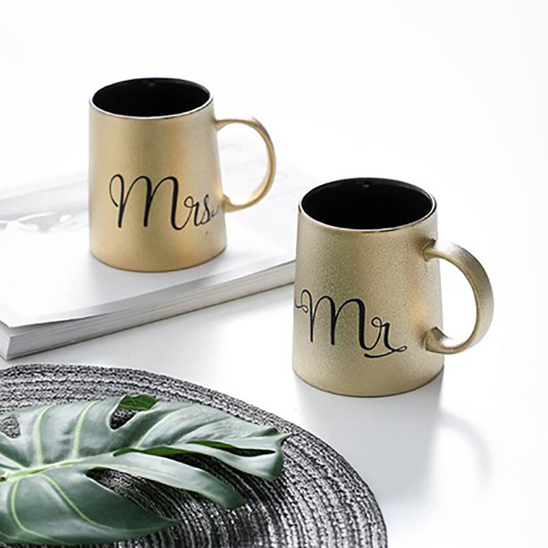 Cặp Cốc Đôi Mr và Mrs - Màu Vàng