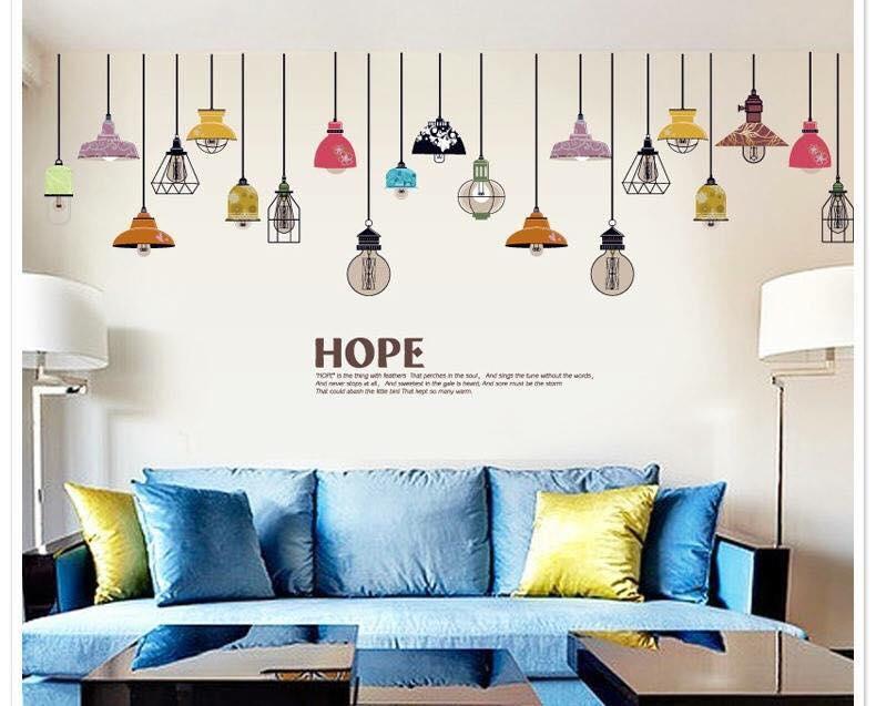 Decal dán tường chùm đèn đủ màu - HP65
