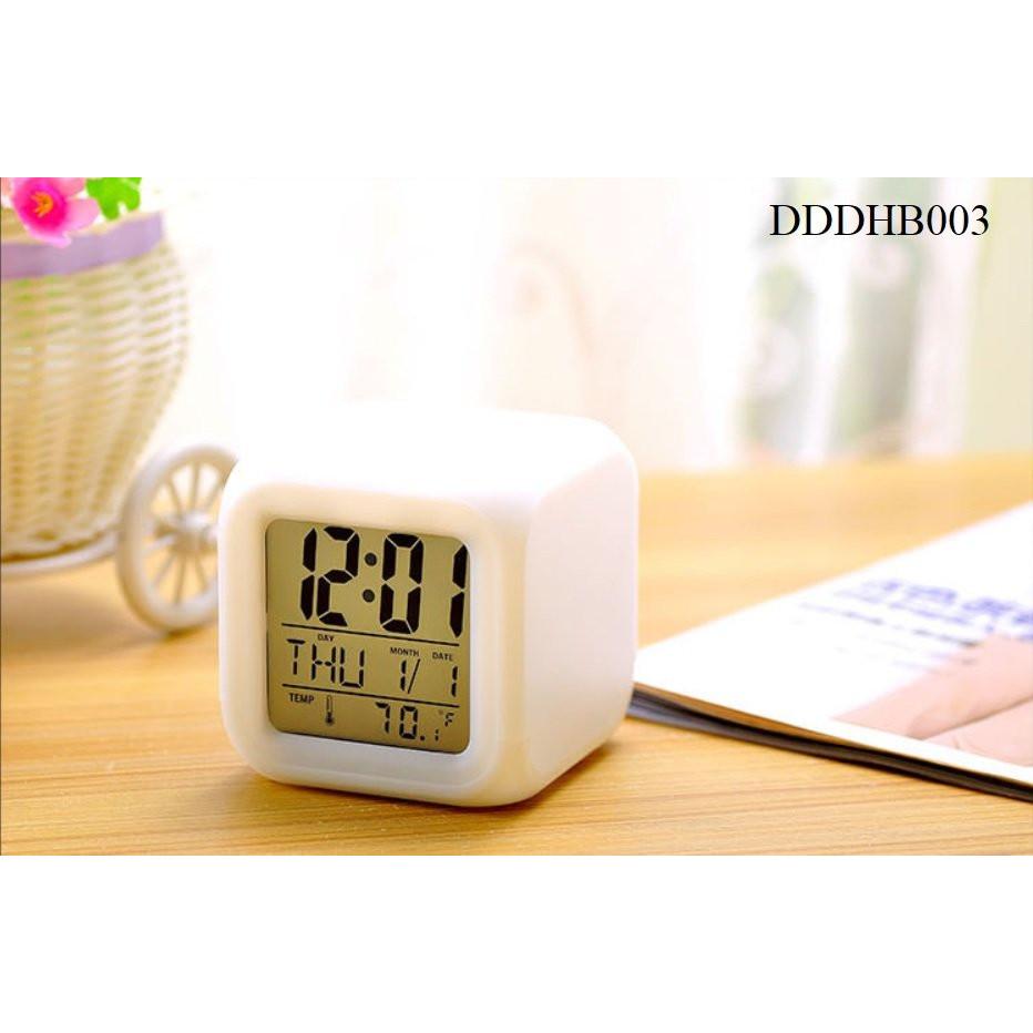 Đồng hồ báo thức, đo nhiệt,  độ đèn LED đổi 7 màu DHB003