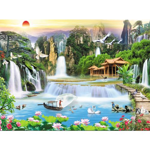 Tranh treo tường Sơn thuỷ hữu tình - Trang trí phòng khách/Gỗ MDF Hàn Quốc/Chống ẩm mốc, mối mọt 20588