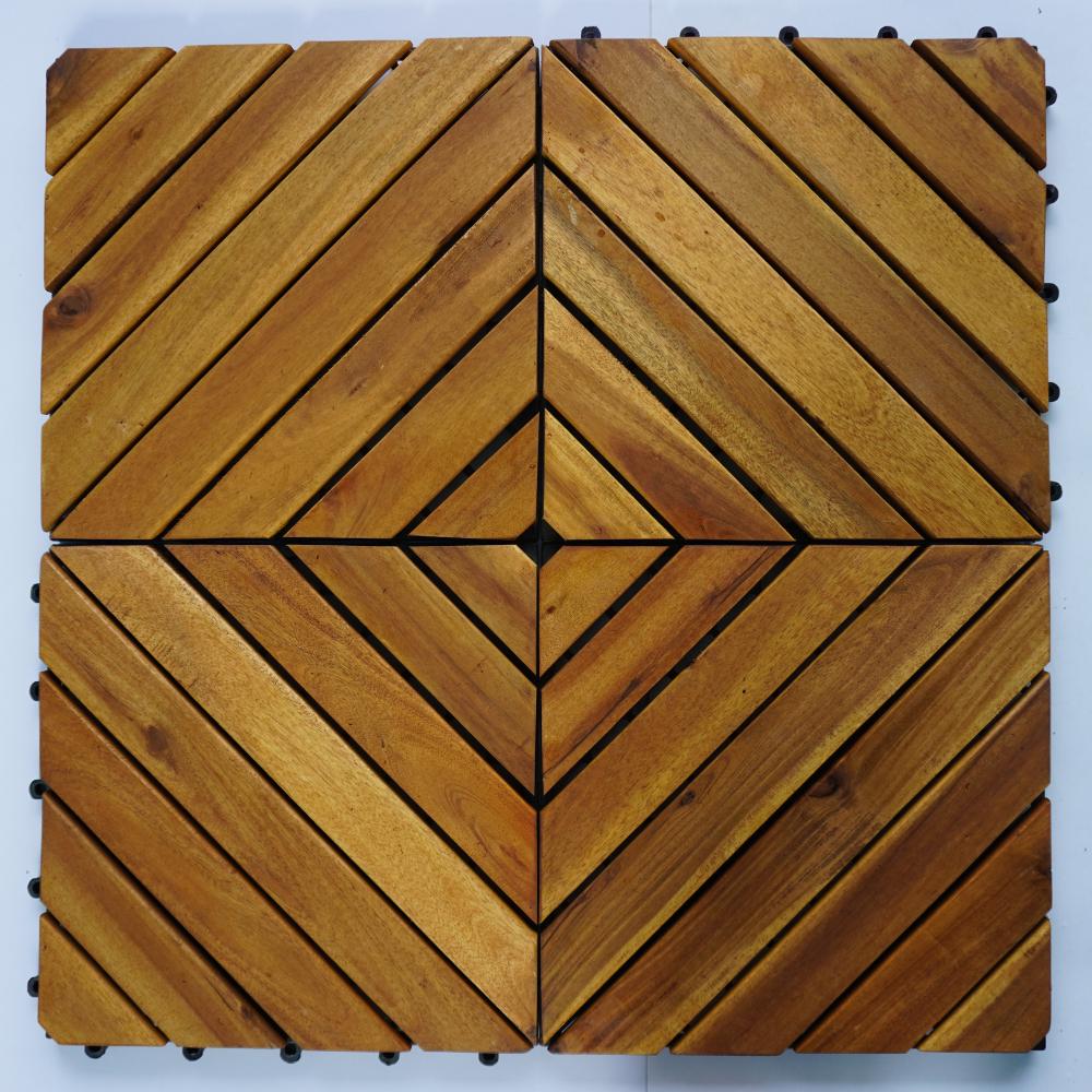 Combo 9 vỉ gỗ lót sàn nan xéo - Màu nâu vàng - Hàng Chính Hãng