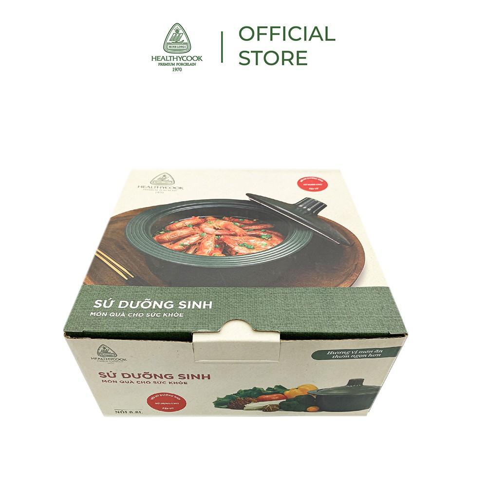 Nồi sứ dưỡng sinh Minh Long vành tròn 1.0 L + nắp dùng cho bếp từ