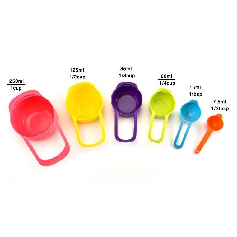Bộ 6 muỗng đo lường nhựa thực phẩm cao cấp