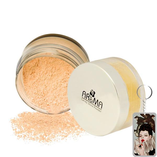 Phấn phủ bột kiềm dầu Aroma Candy Shine Powder Hàn Quốc 10g tặng kèm móc khoá