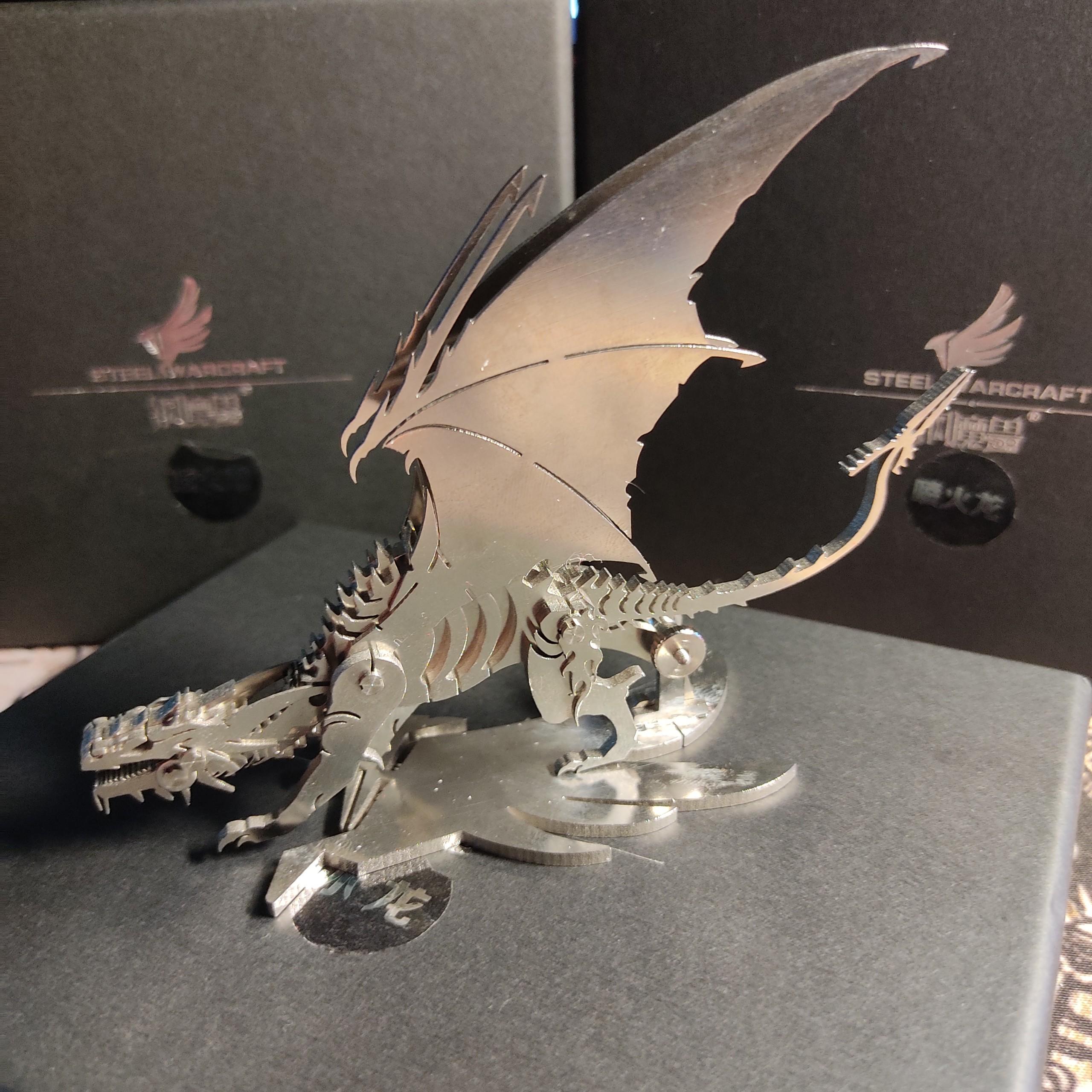 Mô hình rồng lắp ghép chất liệu kim loại, mô hình trang trí