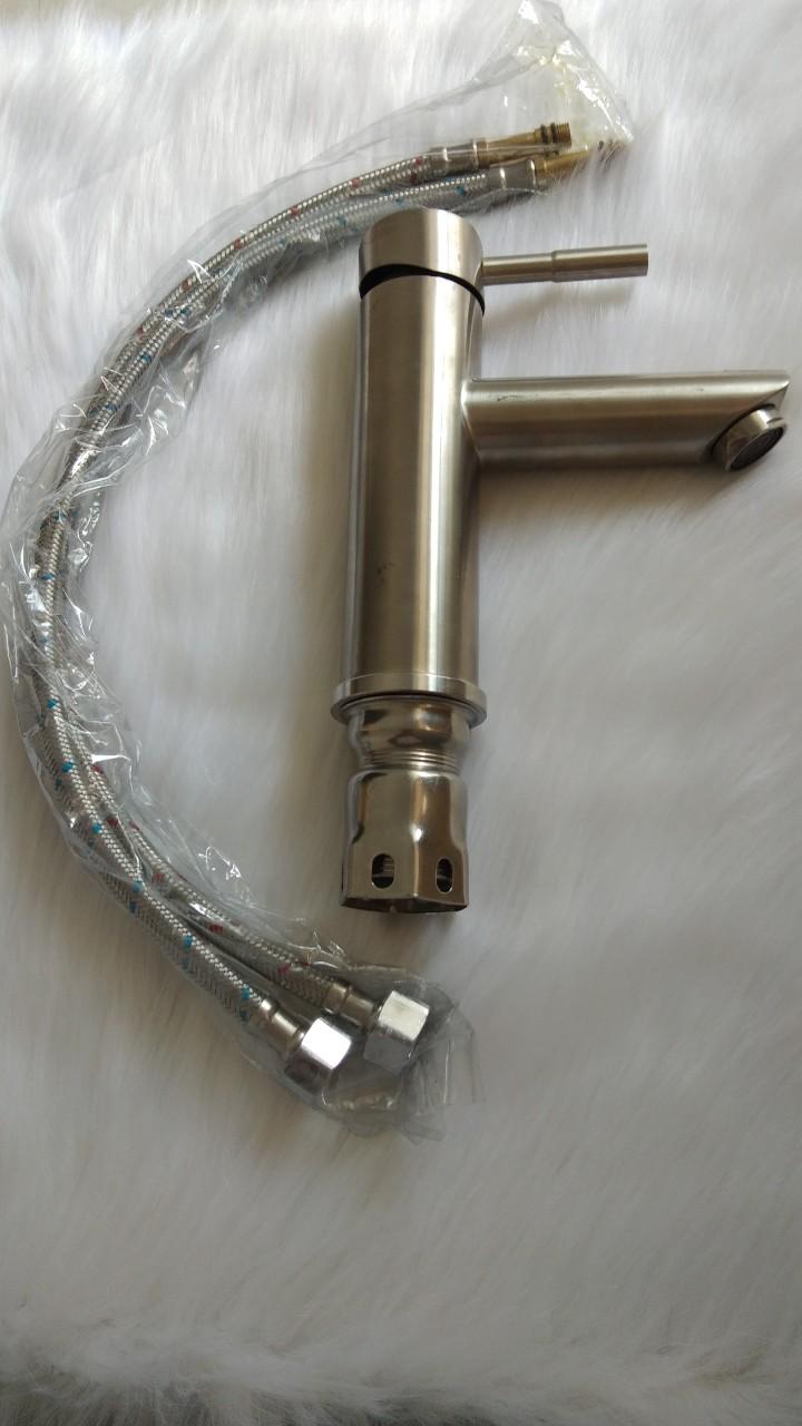 Vòi lavabo nóng lạnh thân tròn inox 304