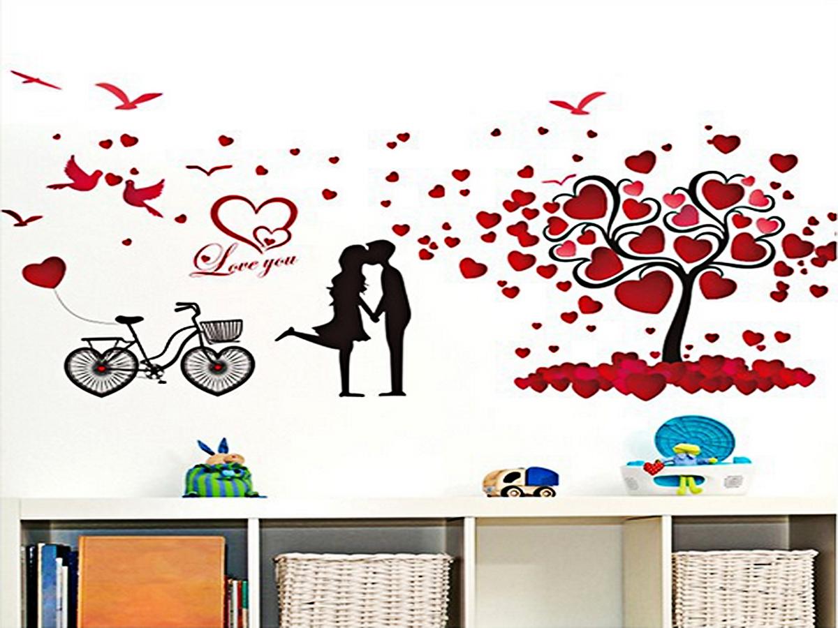 Decal dán tường đôi uyên ương và cây trái tim xl8151