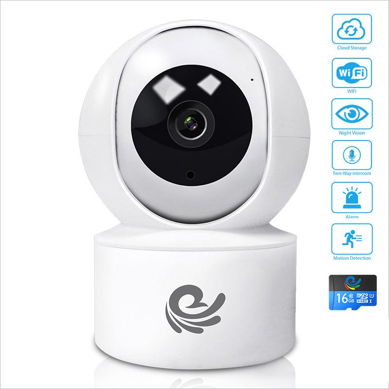 [ KÈM THẺ 16GB ] Camera WIFI YH200 Trong Nhà Full HD 2.0Mpx- Góc Nhìn Rộng - Có Đèn Hồng Ngoại - Hú Báo Động - Nhập Khẩu