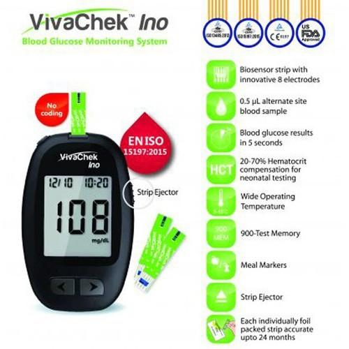 (Combo trọn bộ) Máy đo đường huyết Vivachek Ino + 25 que thử + 100 kim lấy máu + 100 miếng cồn khô.