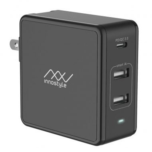 Adapter Sạc 3 Cổng Cho Macbook Innostyle Gomax Plus 73W Tích Hợp USB Type-C Hỗ Trợ Sạc Nhanh PD Power Delivery - Hàng Chính Hãng