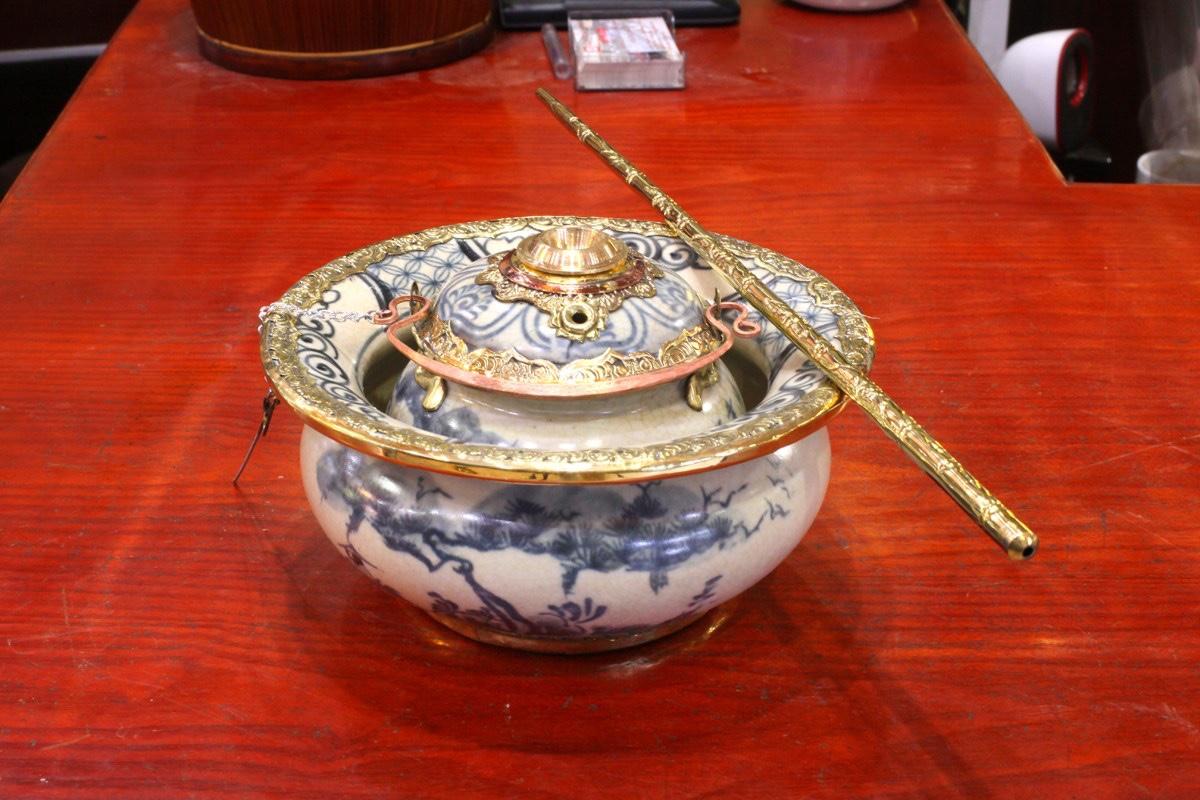 Bát điếu bọc đồng men rạn cổ - Gốm sứ Bát Tràng