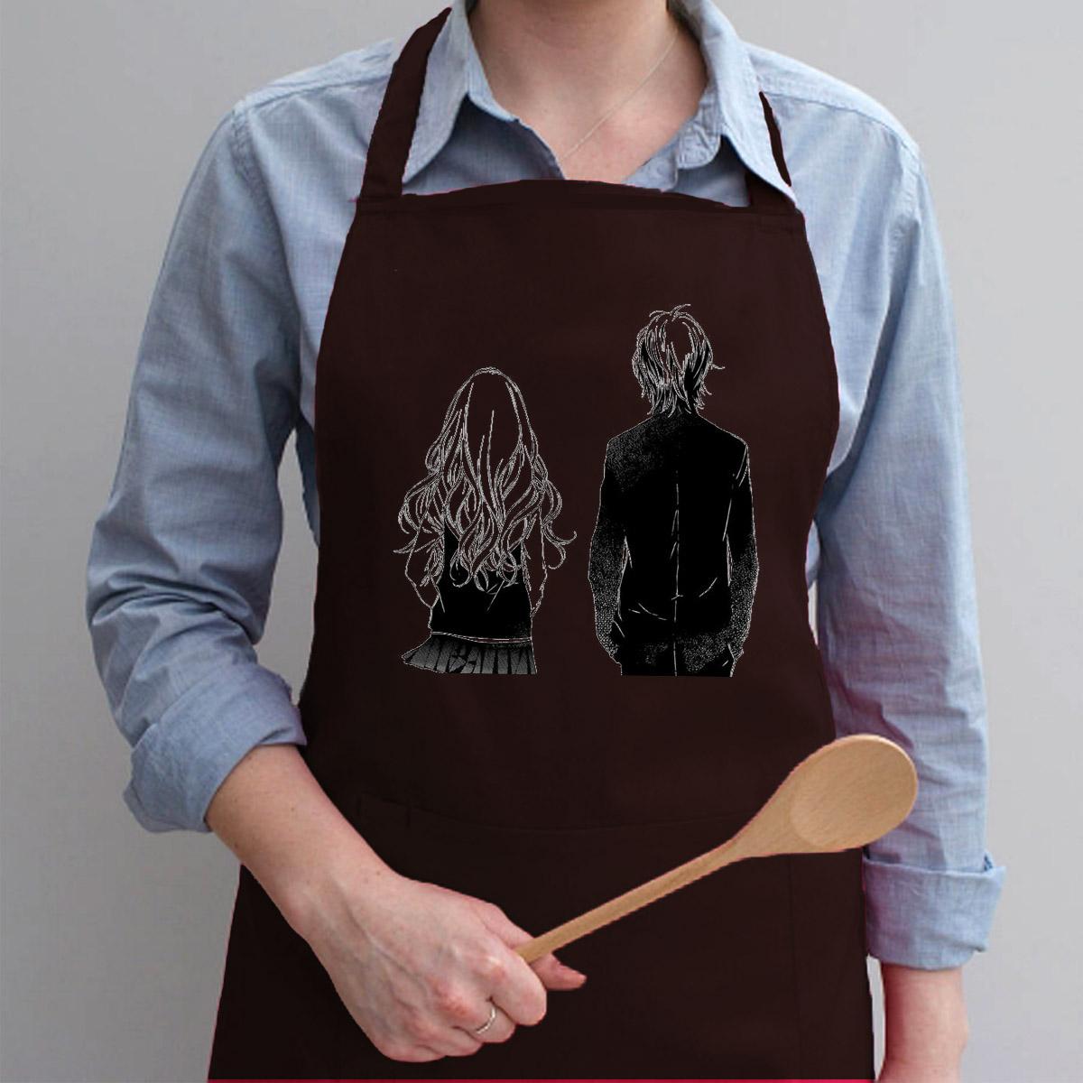 Tạp Dề Làm Bếp In Hình Tình Yêu Đôi Lứa Valentine - Mẫu012
