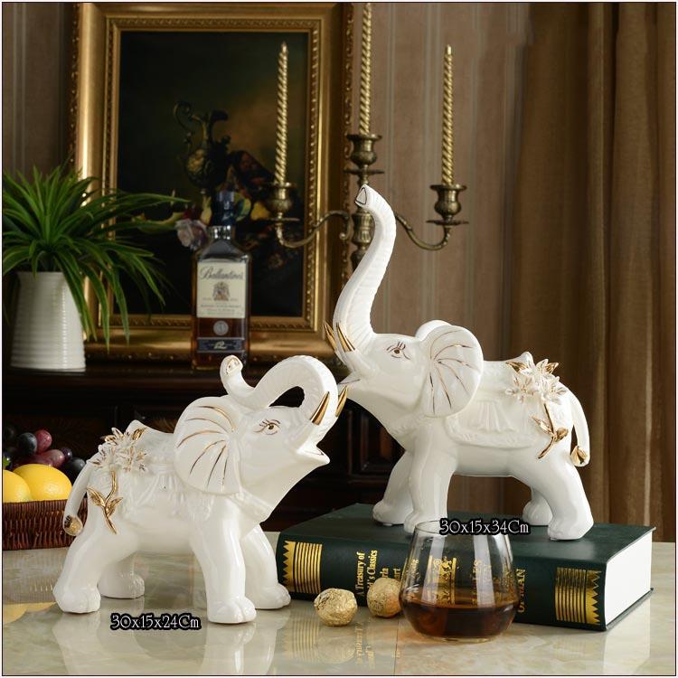 Tượng voi sứ trắng trang trí kệ tủ T76