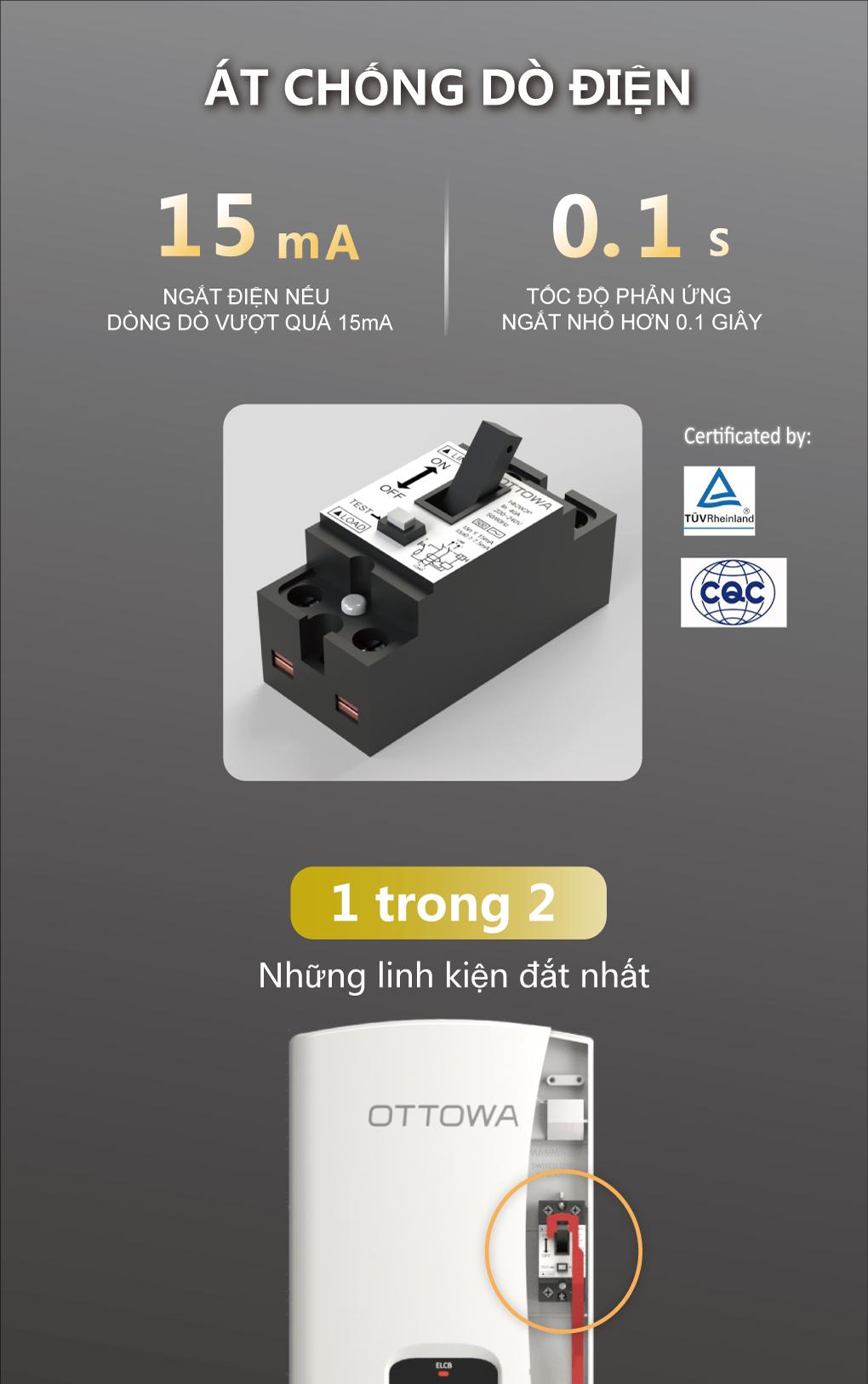 Máy tắm nước nóng OTTOWA TH45P01- Hàng chính hãng
