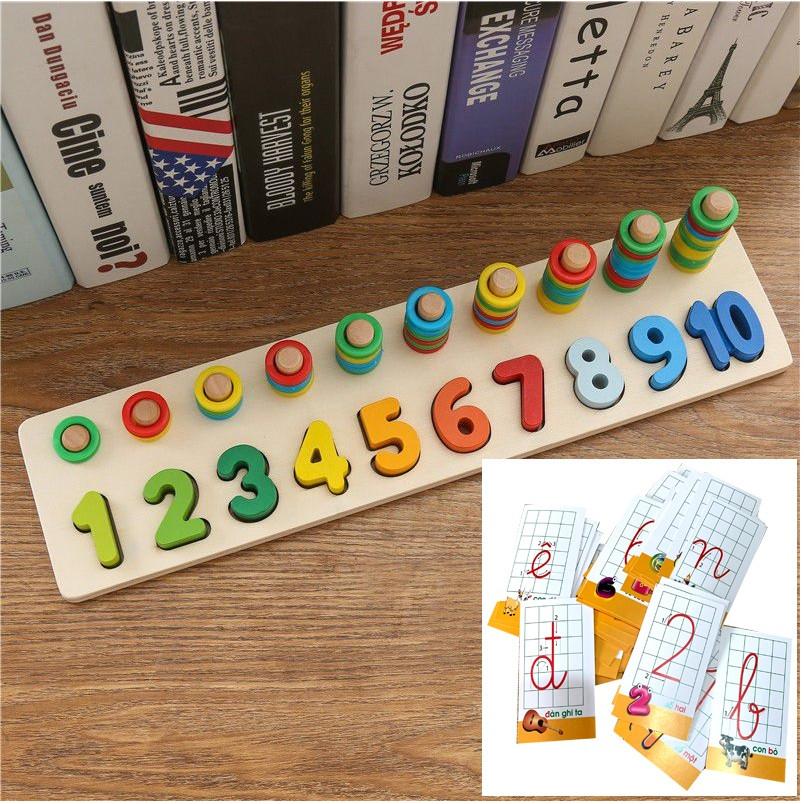 Giáo Cụ Montessori Bộ Học Đếm Bậc Thang 10 Cột Tính Bằng Gỗ Tặng Kèm Bộ thẻ Cho Bé Học Đếm Và Học Cữ Cái