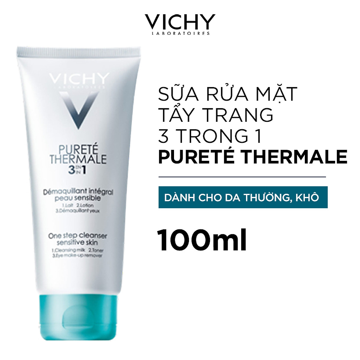 Sữa Rửa Mặt Tẩy Trang 3 Tác Dụng VICHY Purete Thermale One Step Cleanser (3 In 1) 100ml - TẶNG MÓC KHÓA