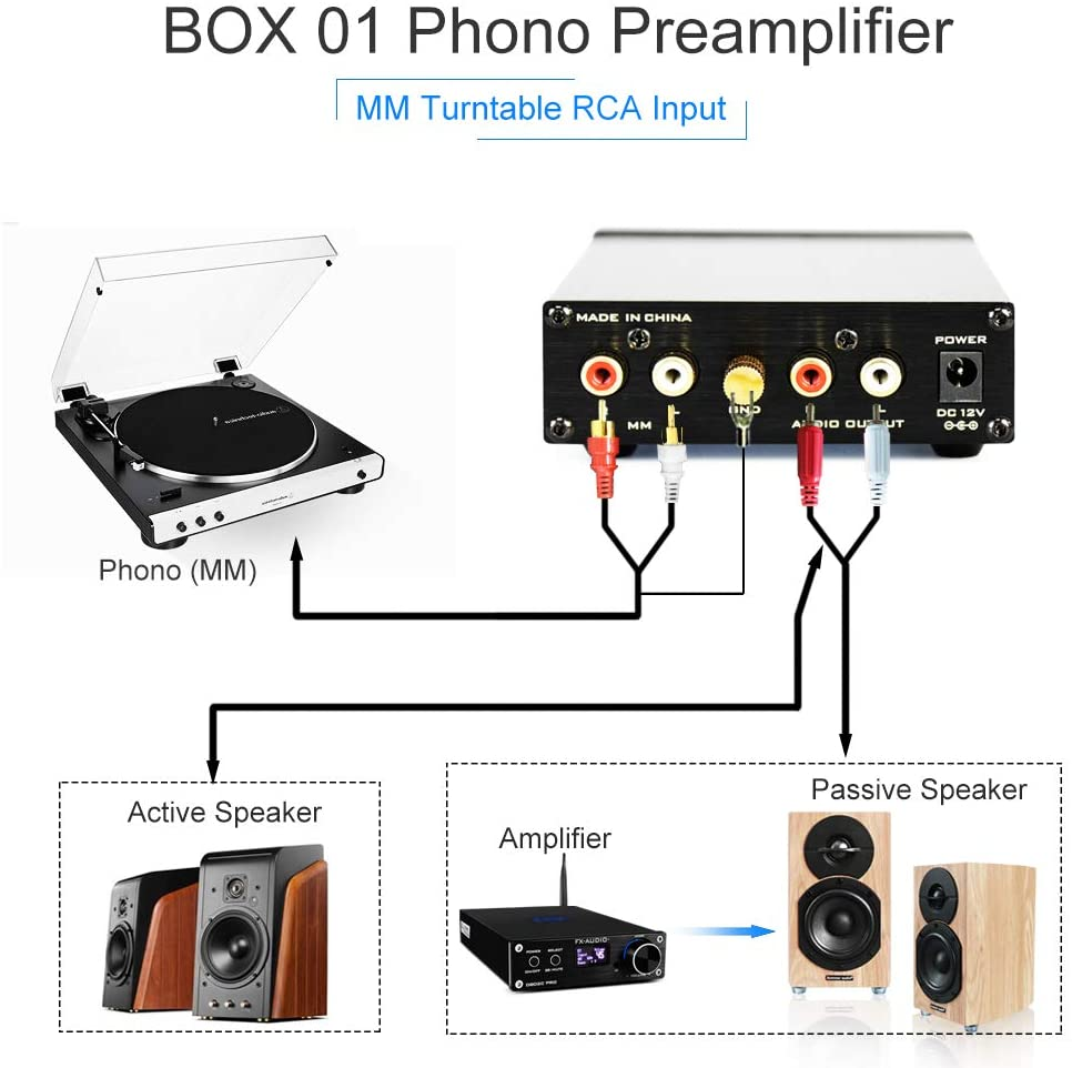 Bộ tiền khuếch đại FX-Audio BOX01 Phono Preamp RCA Input Output MM Phonograph Preamplifier for Turntable DC 12V Low Noise Pre-amp for Home Audio Stereo Recorder Player - Hàng Chính Hãng