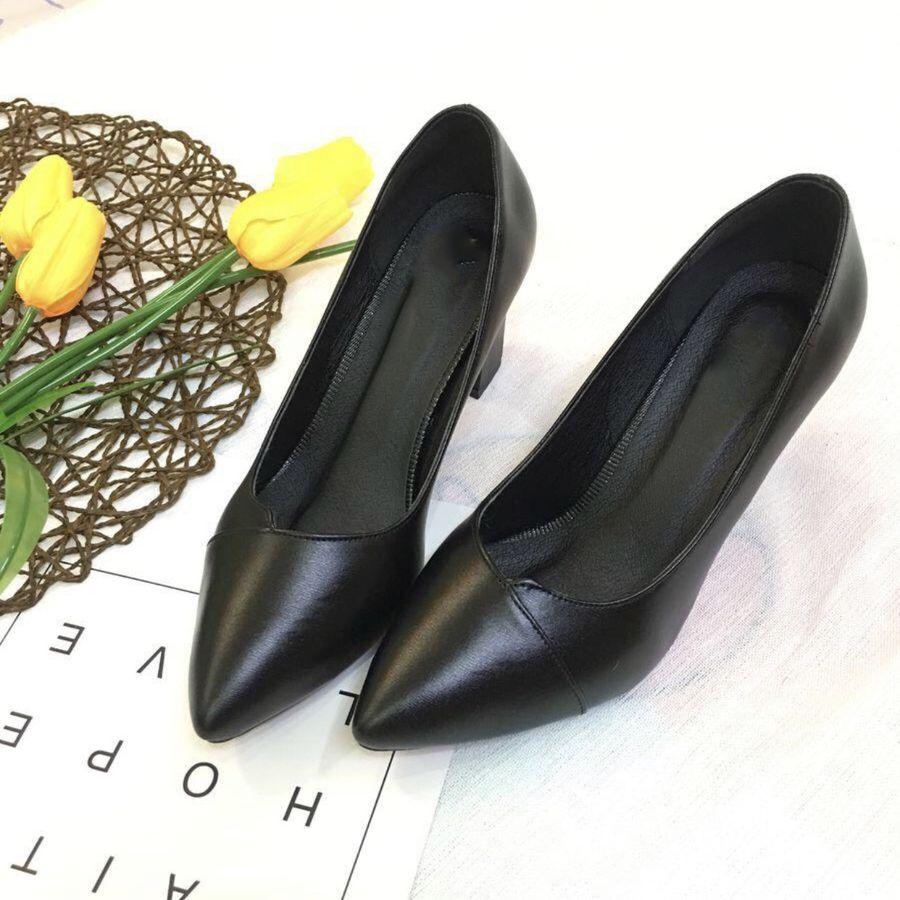 Giày cao gót nữ da mềm đế vuông 7p vạt chéo hàng VNXK siêu bền-GC72