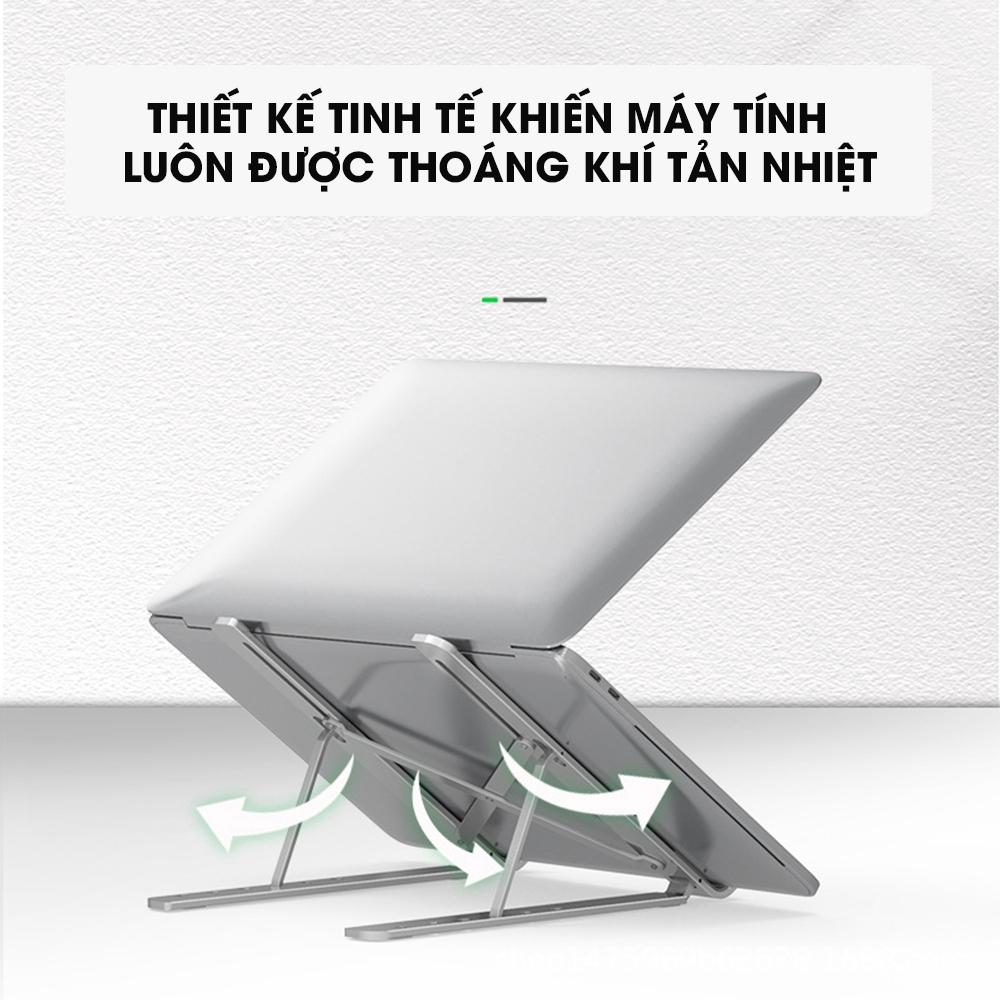 Đế tản nhiệt cho Laptop, Macbook - Giá đỡ, kệ đỡ, phụ kiện cao cấp cho Macbook, Laptop bằng hợp kim nhôm thông minh gấp gọn VINETTEAM - Hàng chính hãng