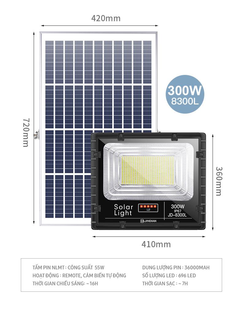 Đèn LED Năng Lượng Mặt Trời 300W   Chính hãng có Logo JINDIAN   [Model 2020]