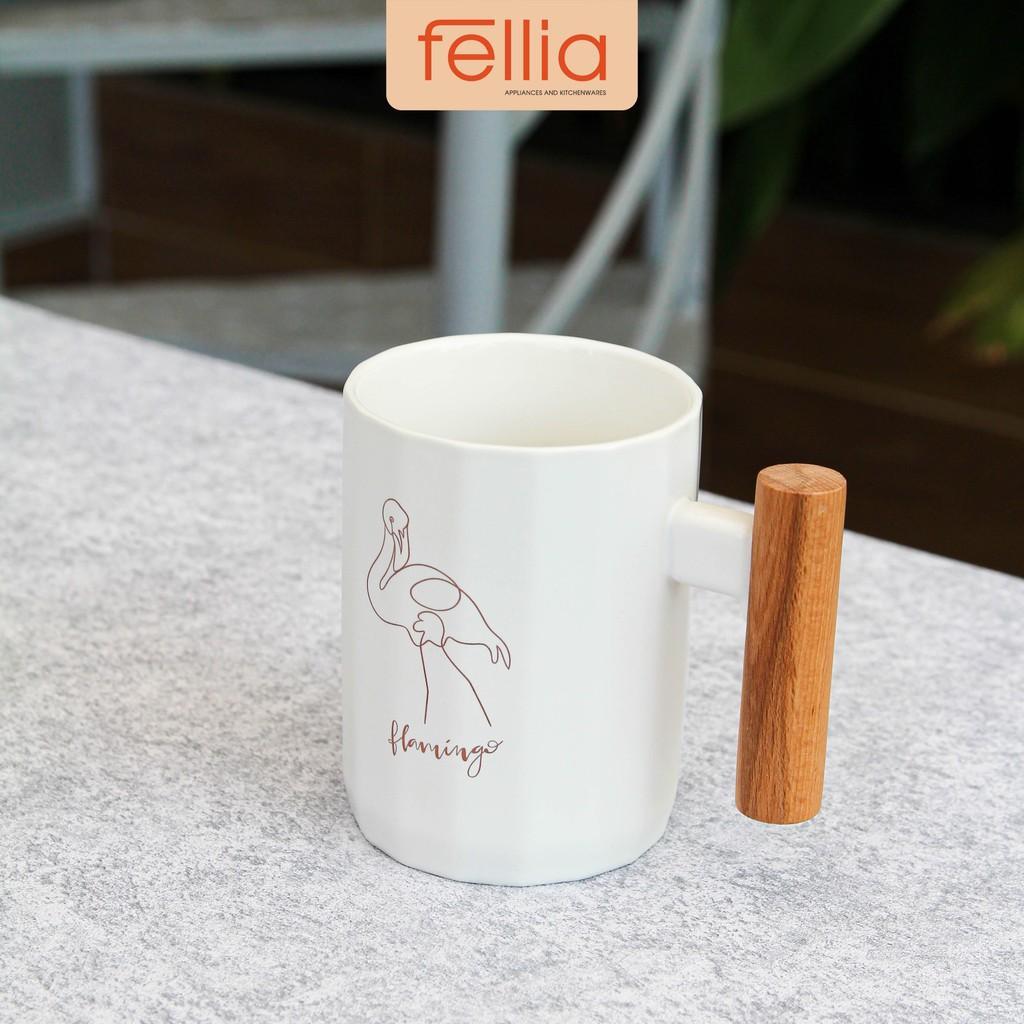 Ly cốc sứ Flamingo Fellia tay cầm gỗ cách nhiệt, chống trơn phong cách văn phòng, thanh lịch_844910040