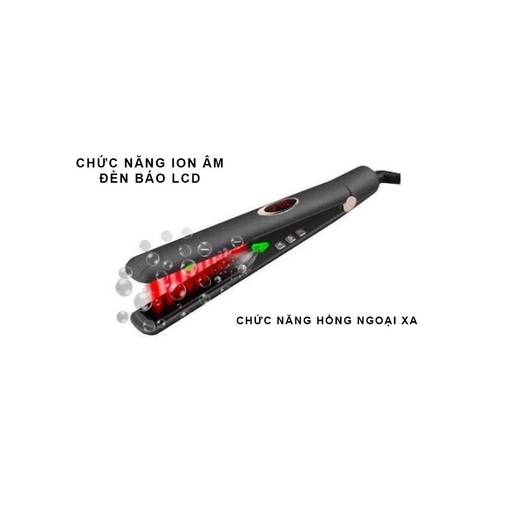 Máy Kẹp Tóc Nhiệt Hồng Ngoại Xa PYT Far Infrared 2in1 - Màu Vàng Hồng - Sử Dụng Để Ép Và Uốn Tóc
