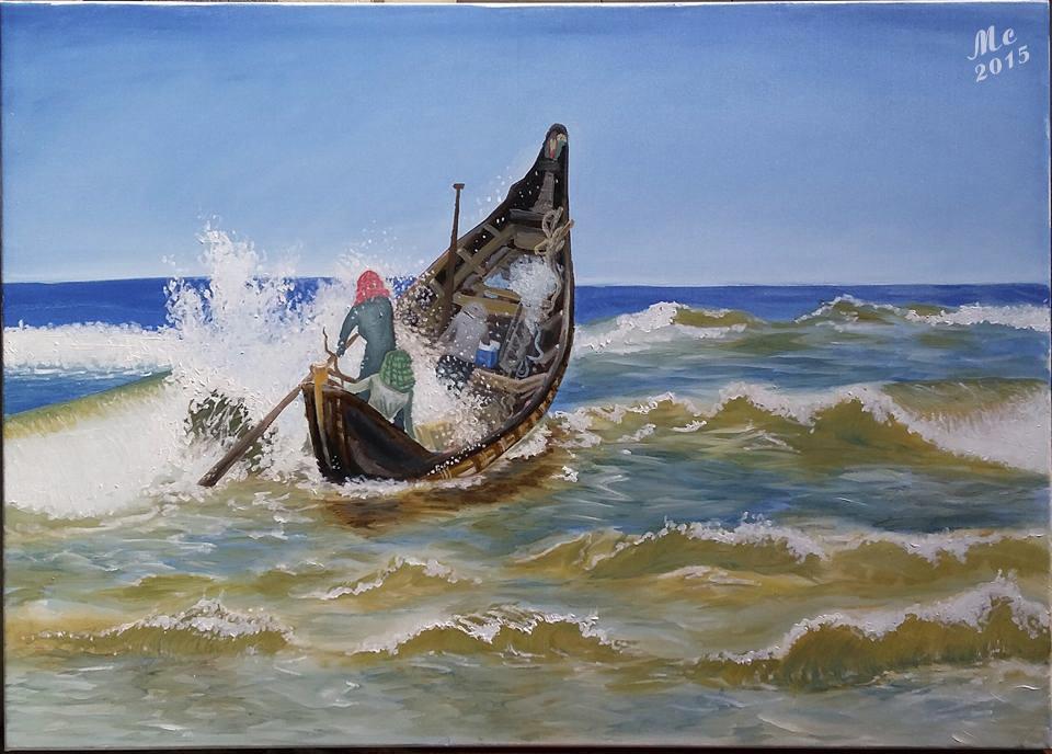 Tranh sơn dầu sáng tác: CHÈO CHỐNG