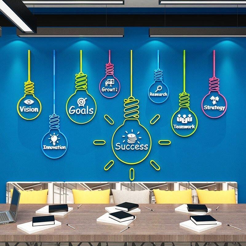 Tranh dán tường mica dán nổi đèn dán tường động lực trang trí quán cafe, trà sữa, phòng học, phòng tập gym, yoga