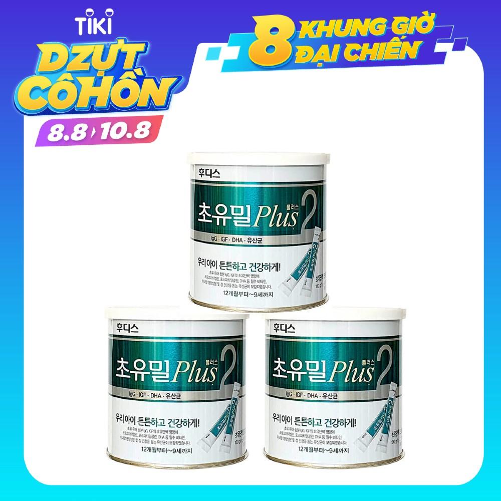 Combo 3 Sữa Non ILDong Foodis Choyumeal Plus Số 2, Hàng Nội Địa Hàn Quốc, Hộp 100 Gói Nhỏ - Bổ Sung Kháng Thể Tự Nhiên, Tăng Sức Đề Kháng và Miễn Dịch Giúp Bé Từ  1-9 Tuổi Khỏe Mạnh, Hạn Chế Ốm Vặt
