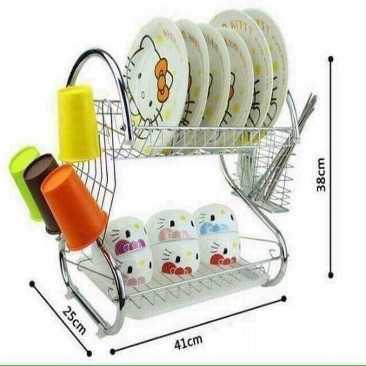 Đồ dùng nhà bếp. Giá để bát đĩa 2 tầng bằng Inox kích thước  53*25*38cm  tặng kèm dụng cụ silicol lót nồi rửa bát tiện lợi