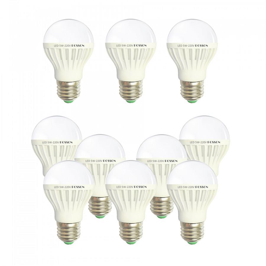 10 Bóng đèn Led 5w tiết kiệm điện sáng vàng nắng Posson LB-E5G | NHẬT QUANG