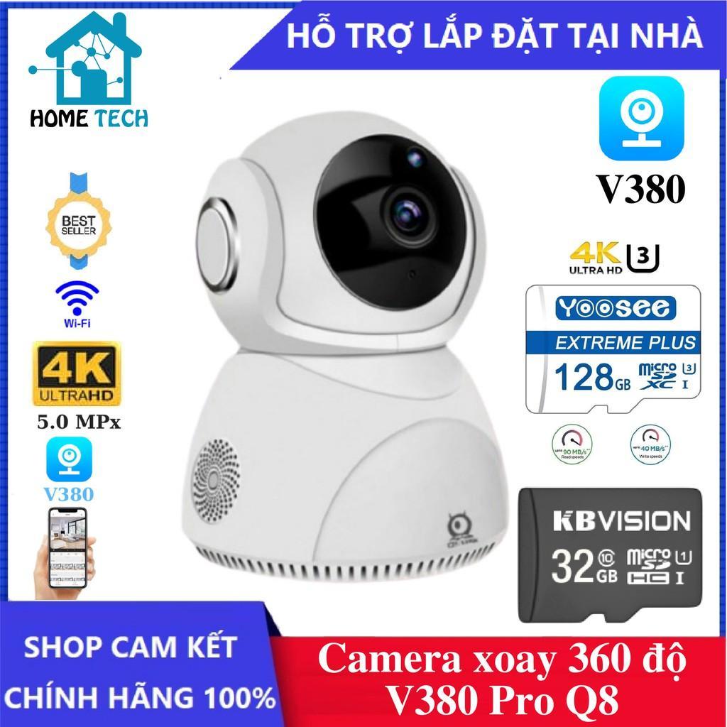 Camera IP Wifi Xoay 360 độ V380 Pro Q8 5.0 Megapixel , độ phân giải 4K , đàm thoại 2 chiều