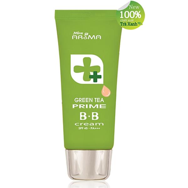 Kem nền đa năng trà xanh Mira Aroma Prime Green Tea B.B Cream Hàn Quốc 30ml tặng kèm móc khóa