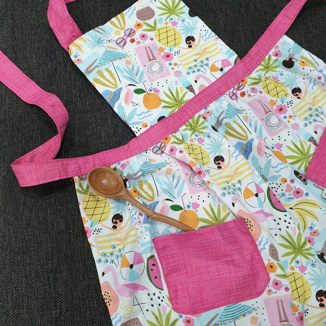 Tạp dề nấu ăn học vẽ, yếm nấu ăn học vẽ họa tiết mùa hè summer đi biển hoa quả nhiệt đới ngộ nghĩnh dễ thương dành cho bé gái