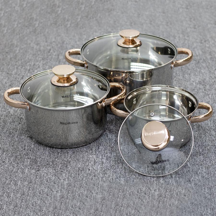 Bộ 3 nồi inox 4 đáy Nagakawa NAG1306 (16cm, 20cm, 24cm) - Quai mạ vàng - Dùng trên mọi loại bếp - Hàng Chính Hãng