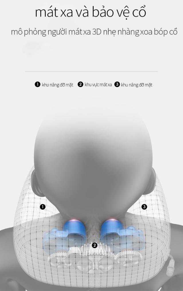 Gối mát xa cổ. Gối massage vai gáy vòng cổ chữ U đa năng cao cấp, mô phỏng mát xa 3D