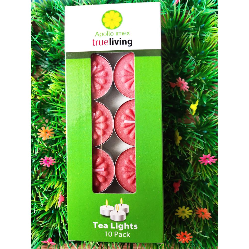 Nến tealight 10 viên màu đỏ không mùi dày 1.5cm cháy từ 4h-5h | Bio Aroma