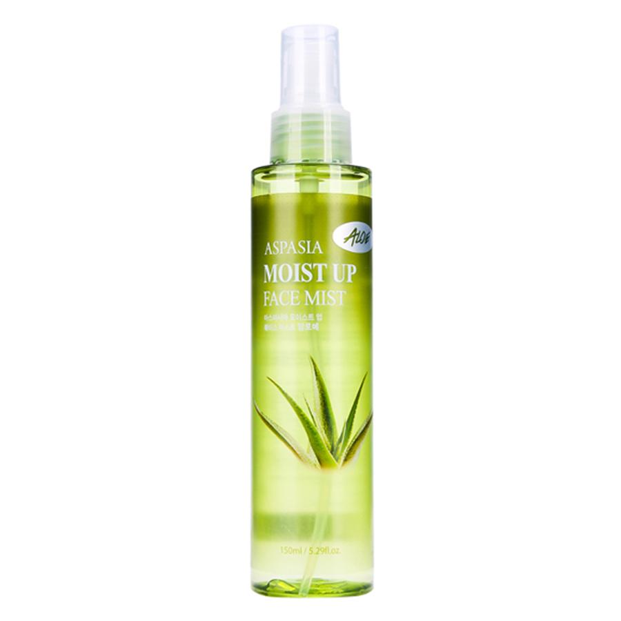 Combo Hot Xịt Khoáng Trắng Da Nha Đam Aspasia Aloe Moist Up Face Mist (150ml) + Xịt Khoáng Chống Lão Hóa Aspasia Collagen Moist Up Face Mist (150ml)
