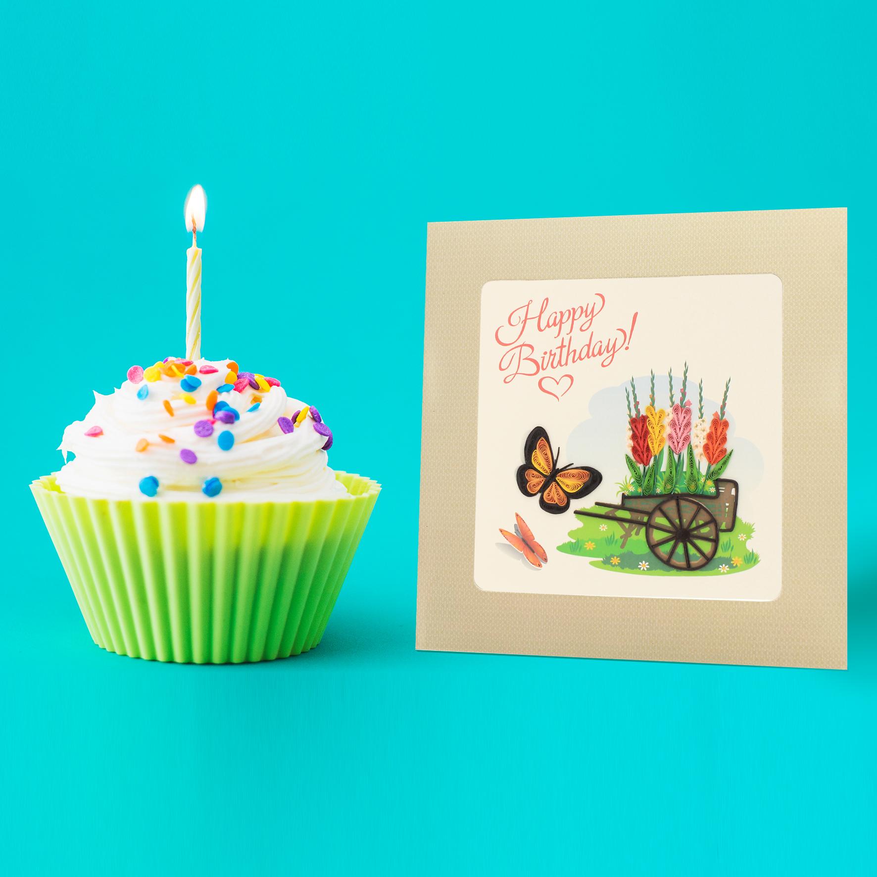 Thiệp Chúc Giấy Xoắn Thủ Công (Quilling Card) Chúc Mừng Sinh Nhật Vườn Hoa Mùa Xuân - Tặng Kèm Khung Giấy Để Bàn