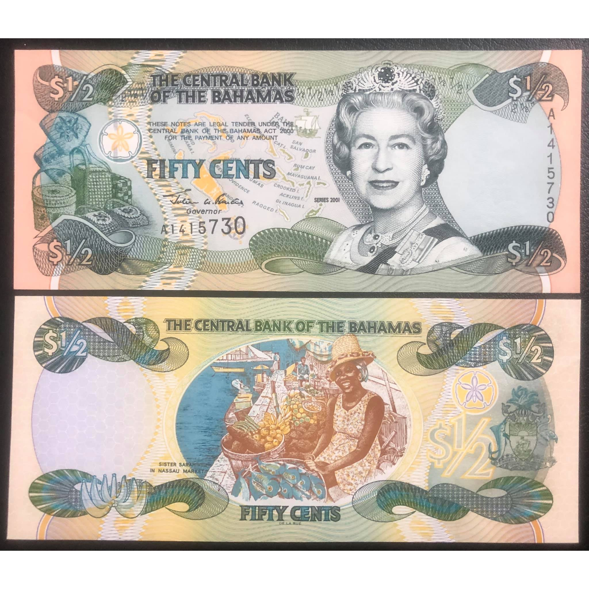 Tiền đảo quốc Bahamas mệnh giá lạ 1/2 dollars, in chân dung Nữ hoàng Elizabeth